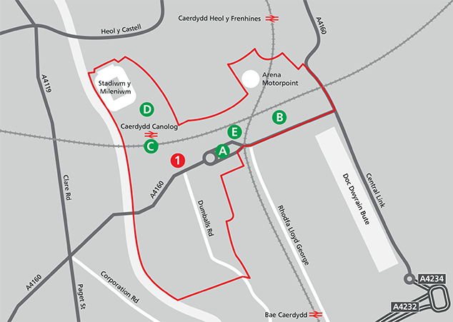 The areas and sites in Central Cardiff Zone Map