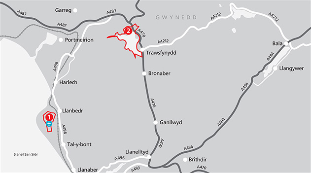 The areas and sites in Snowdonia Zone Map