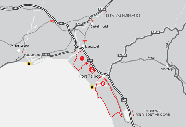 The areas and sites in Port Talbot Waterfront Zone Map