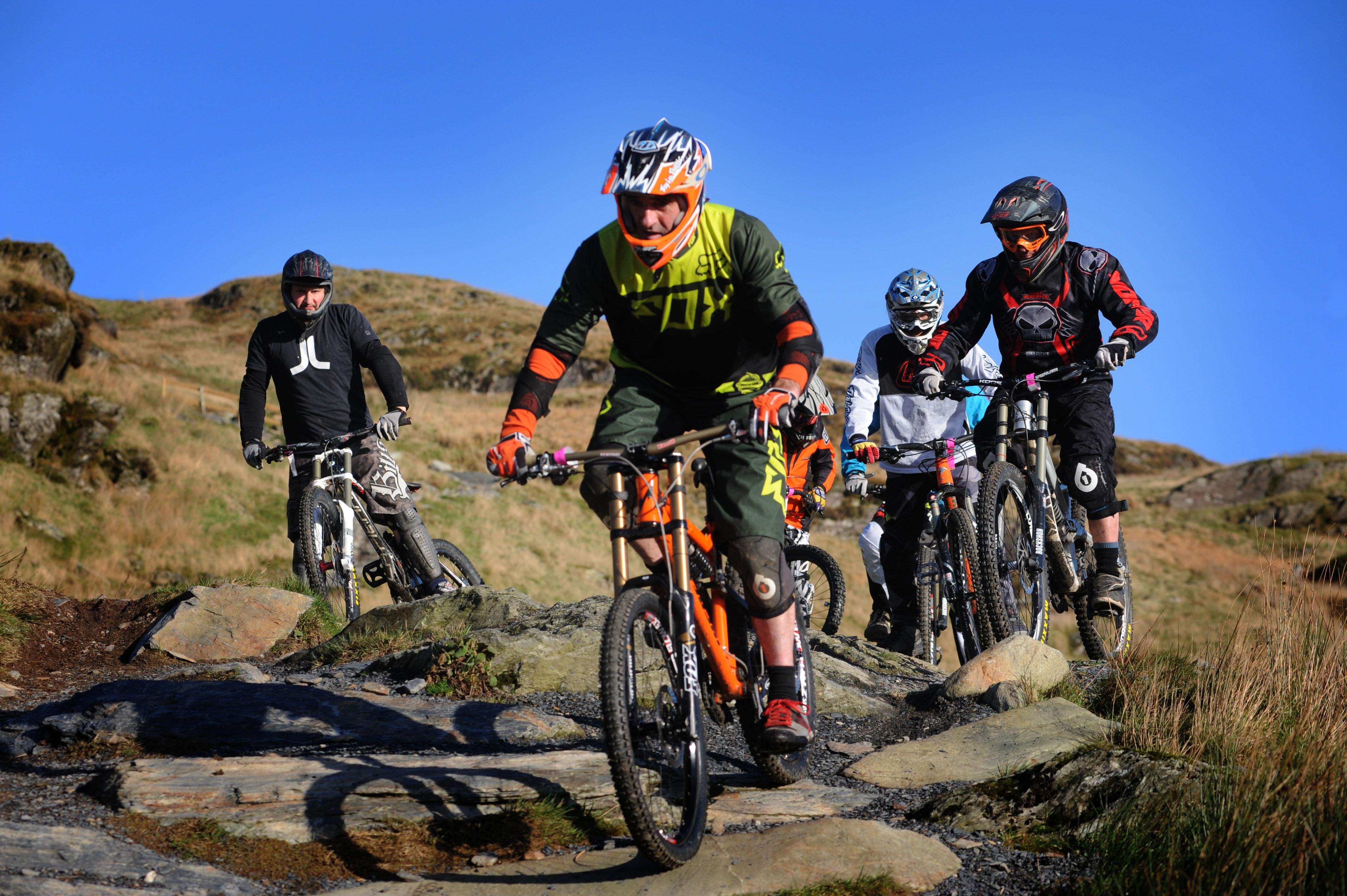 Group of people mountain biking